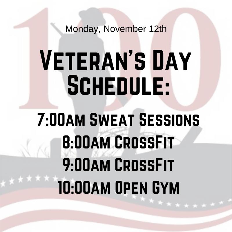CFRV Veteran's Day Schedule 2018