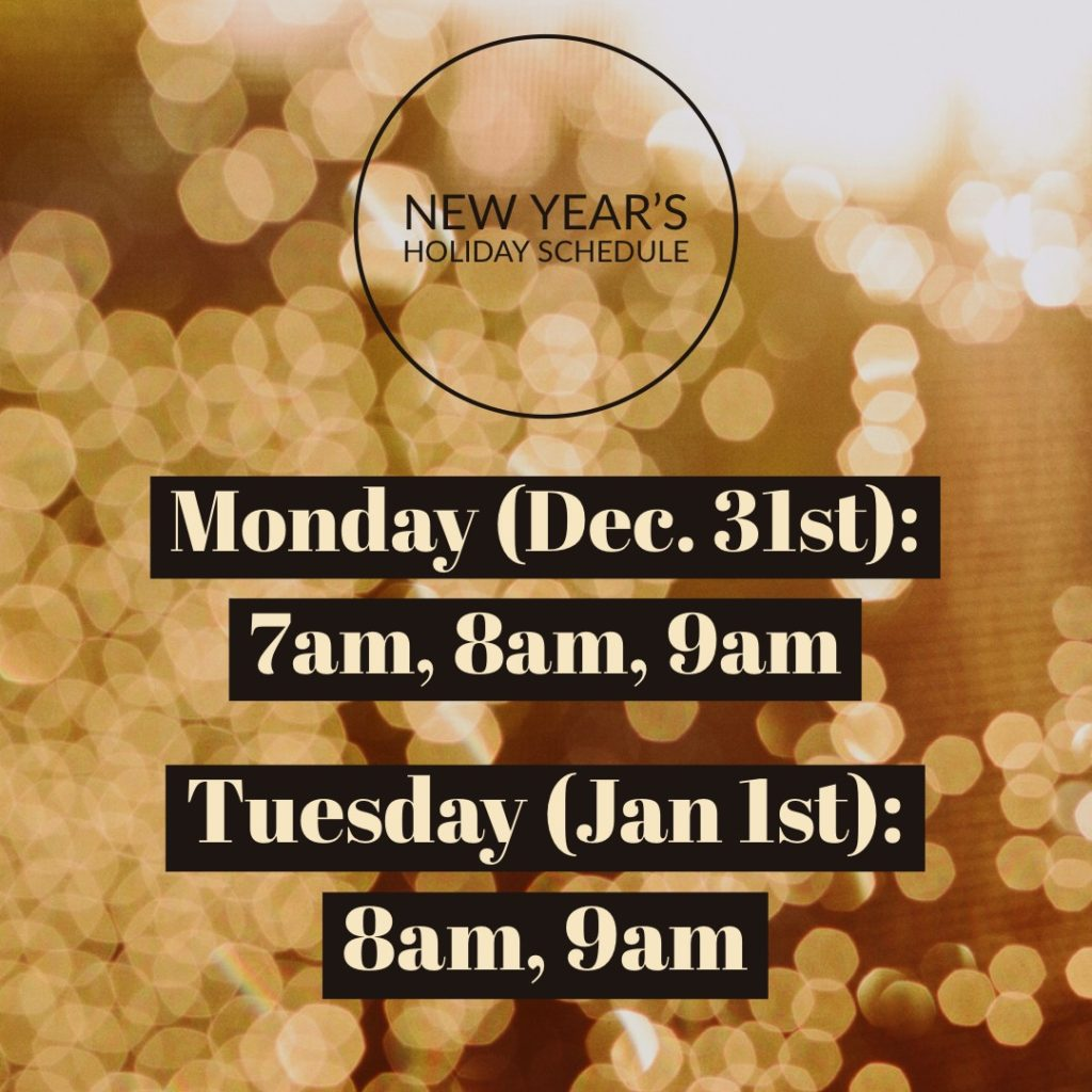 New Year's Schedule 2018 at CrossFit Roseville